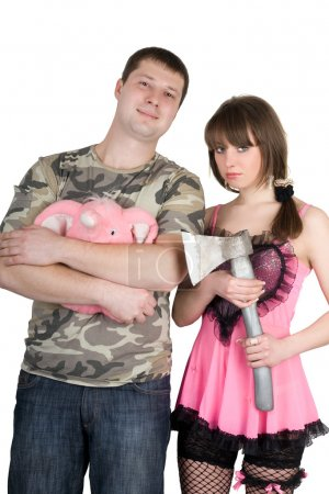 Young man and the woman. Funny image