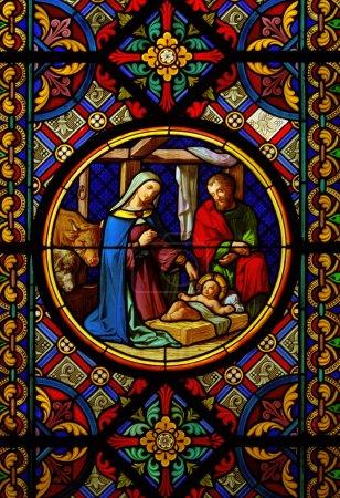 Foto de Catedral de Navidad vidriera Jesús María Josef - Imagen libre de derechos