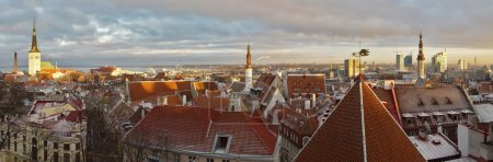 Panoramic view of Tallinn, Estonia at su