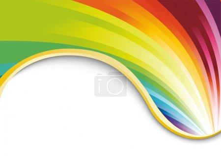 Foto de Tarjeta de arco iris con cinta de oro. ilustración vectorial - Imagen libre de derechos