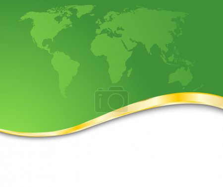 Green business card with golden rim
