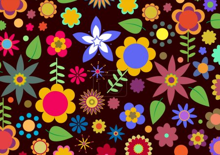 Photo for Illustration of multicolored funky flowers abstract pattern on black background - Royalty Free Image