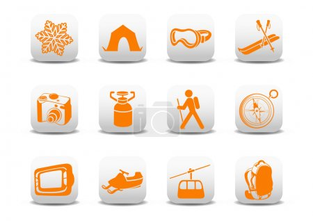 Photo for Illustration of winter camping/ski icons .You can use it for your website, application or presentation - Royalty Free Image