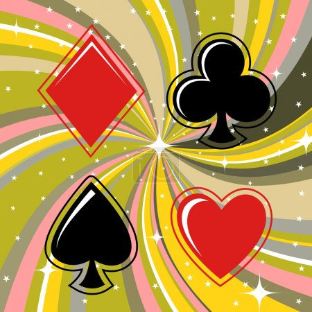 Gambling cards signs set