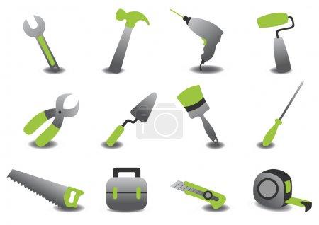 Photo pour Illustration de réparation professionnel outils icônes - image libre de droit