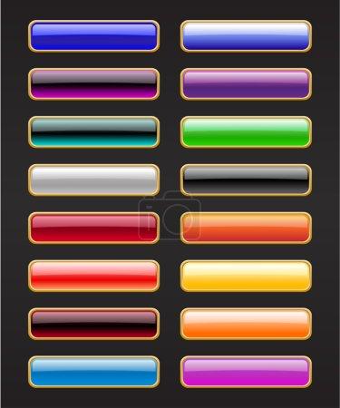 Photo pour Illustration de boutons modernes, brillants et rectangle sur fond noir . - image libre de droit