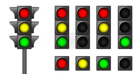 Illustration pour Les feux de circulation isolés pour les combinaisons de situations routières - image libre de droit
