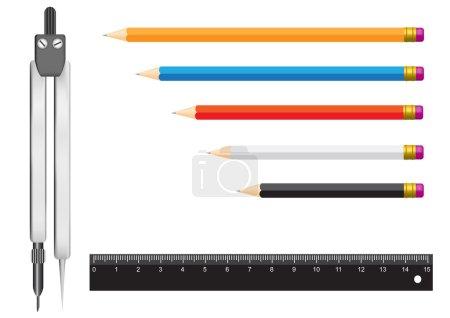 Compasses pencil ruler