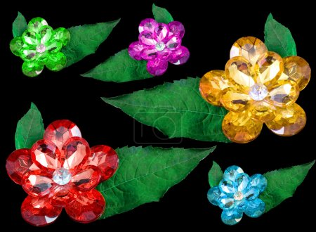Six gems isolated on a black background