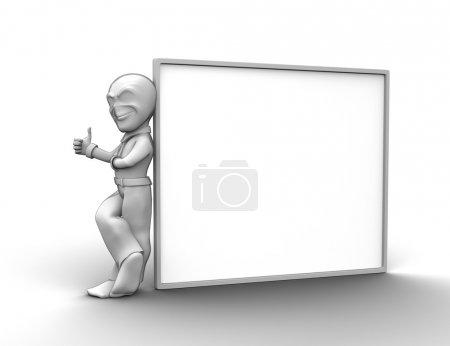 Photo pour 3D petite personne avec chambre vide que vous pouvez écrire n'importe quoi - image libre de droit