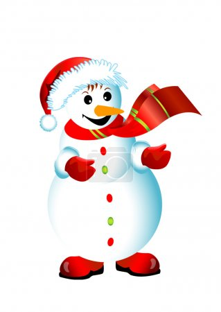 Christmas happy snowman isolated