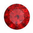 Red round shaped garnet isolated