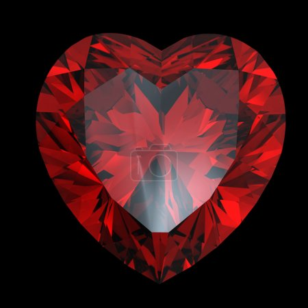 Red heart shaped garnet isolated...