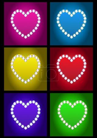 Greeting card of Happy Valentines day. Diamond hea...