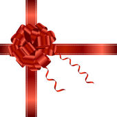 Red ribbon and bow isolated on white background Vector background