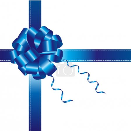Blue ribbon and bow isolated