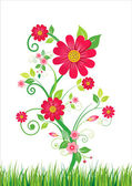 Flowers and grass Vector illustration
