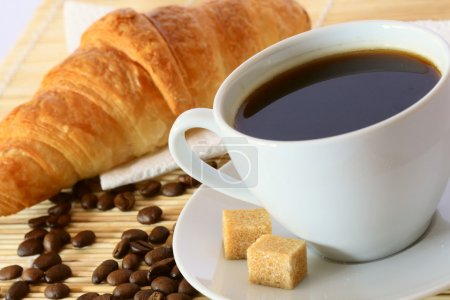 Photo for Breakfast with coffee and croissant - Royalty Free Image