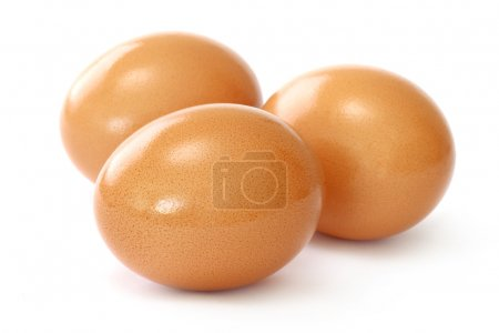 Photo for Three brown eggs on white background - Royalty Free Image