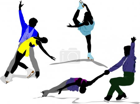 Figure skating colored silhouettes. Vect