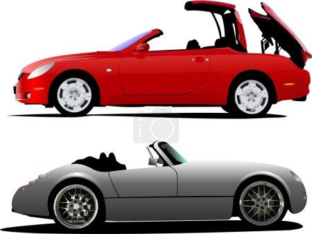 Illustration pour Deux voitures cabriolet sur la route. Illustration vectorielle - image libre de droit