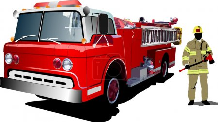 Fire engine and fireman isolated on back