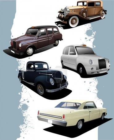 Five old cars. Retro. Vector illustrati