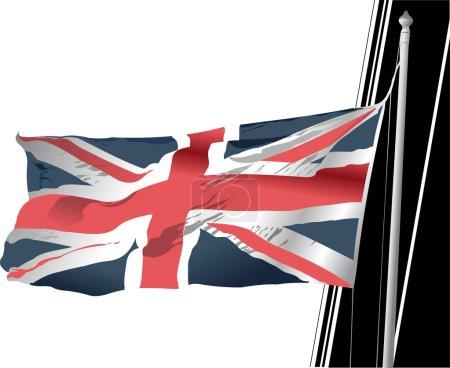 Vector stylish waving United Kingdom fla