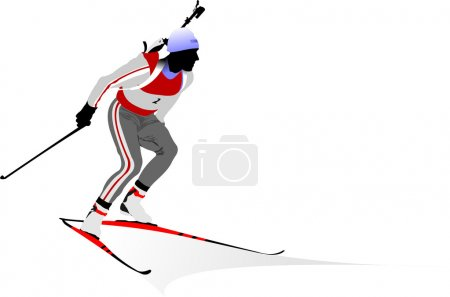Biathlon runner colored silhouettes Vec