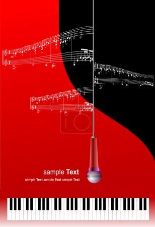 Illustration pour Piano avec micro et impression de la musique avec place pour le texte. Vector - image libre de droit
