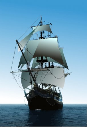 Illustration for Cover for brochure with old sailing vessel - Royalty Free Image