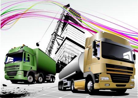 Two trucks on the road. Vector illustra