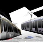 City transport. Two Trams. Vector illustration...