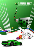 Casino elements with sport car image Ve