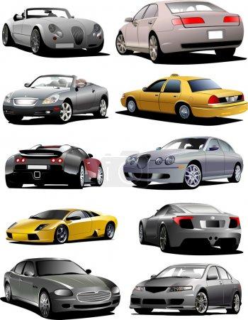 Ten cars on the road. Vector illustrati