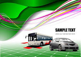 Abstract green background with bus and c