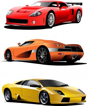 Illustration pour Trois voitures de sport sur la route. Illustration vectorielle - image libre de droit