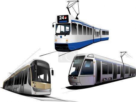Illustration for City transport. Three types of Tram. Vector illustration - Royalty Free Image