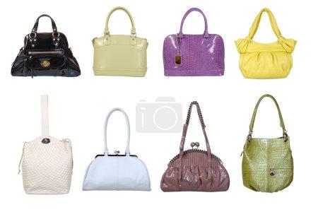 Photo pour Collection de sacs à main féminins sur fond blanc - image libre de droit