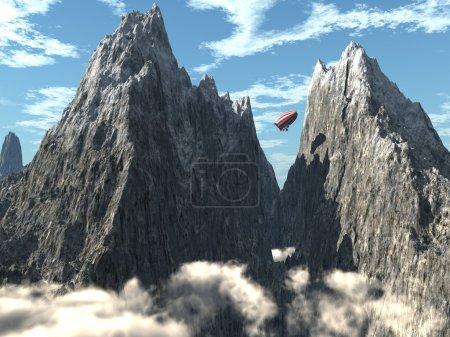 Photo pour Les sommets montagneux, paysage, illustration 3D - image libre de droit