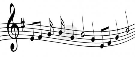 Photo pour Illustration des notes de musique sur fond blanc - image libre de droit