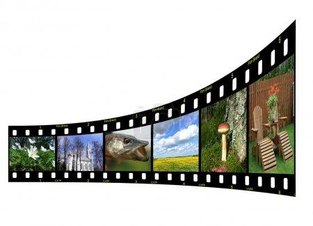 Foto de Tira de película con seis fotos coloridas de Lituania. Copyspace para su diseño - Imagen libre de derechos