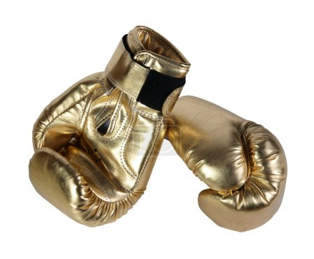 Gold boxing-gloves. (isolated)