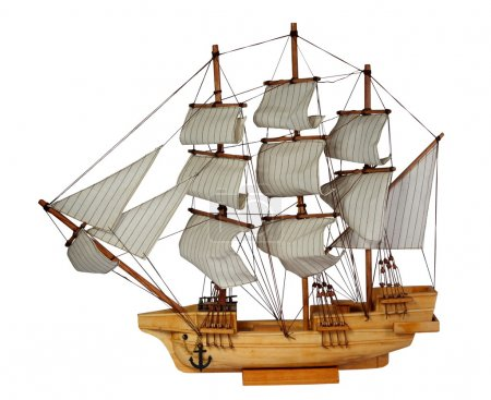 Model of ship with sails. (isolated)