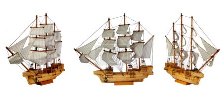 Model of ship with sails