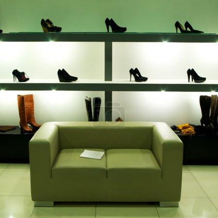 In shoe shop.