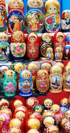 Shop window with set of russian dolls of