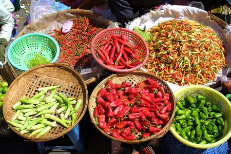 Different species of pepper in Cambodian bazaar...