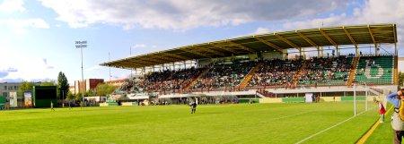 Panoramic view of soccer stadium
