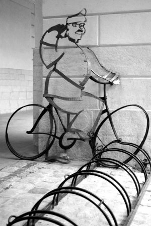 Bicycle parking and Schweik monument in front of L...